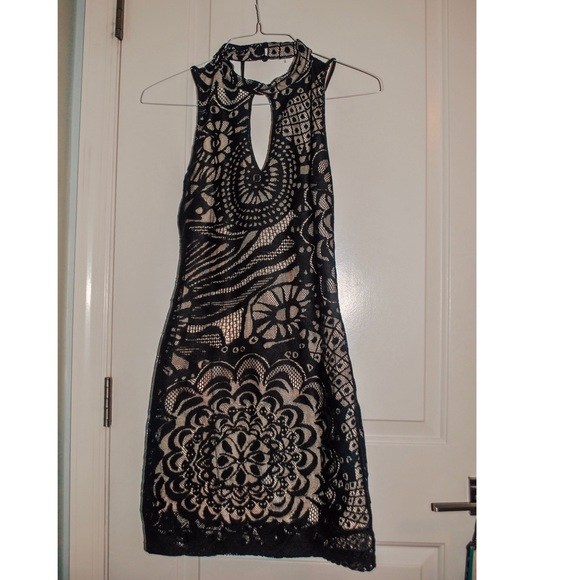 Black and Cream Lace Cocktail Dress